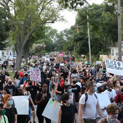 Protests resumed in Kenosha, Wisc. on Monday evening after police shot and wounded a Black man the day before.