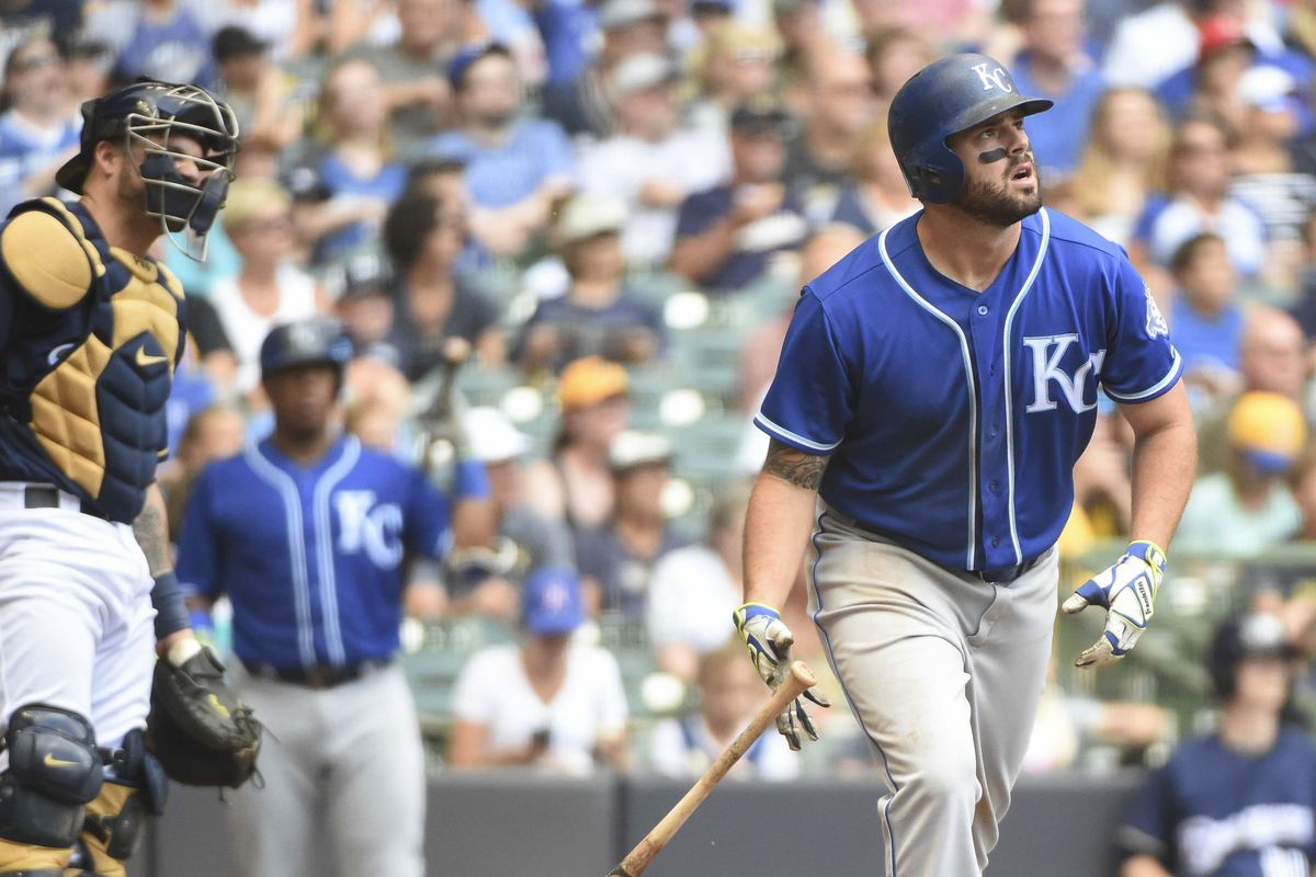Kansas City Royals third baseman Mike Moustakas (8) watches after hitting a solo home run in the seventh inning against the Milwaukee Brewers at Miller Park. Mandatory Credit: Benny Sieu