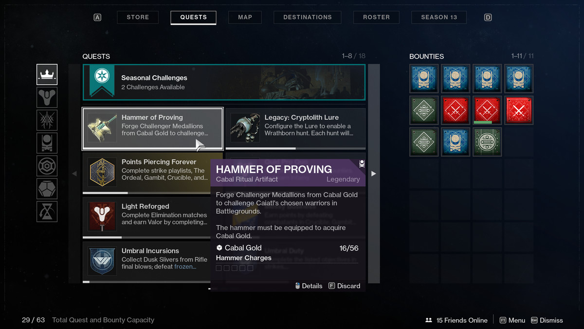 Season of the Chosen Hammer of Proving quest UI