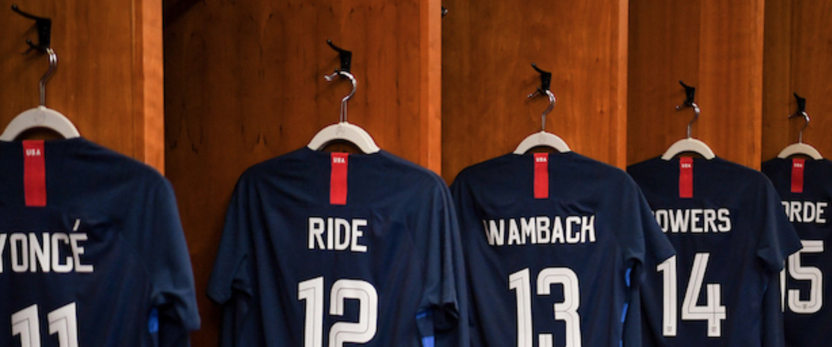 d7c12236a Jerseys hanging in the WNT lockers before the match against England on  Saturday
