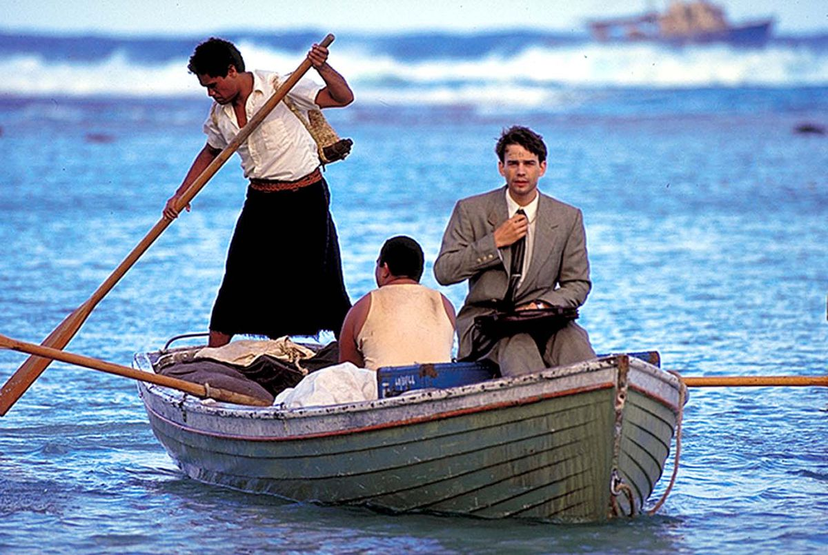 """The young John H. Groberg arrives on the island as portrayed in """"The Other Side of Heaven."""""""