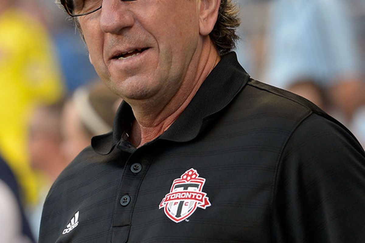 KANSAS CITY, KS - JUNE 16:  Head coach Paul Mariner of Toronto FC coaches on the sidelines during the MLS game against Sporting KC on June 16, 2012 at Livestrong Sporting Park in Kansas City, Kansas.  (Photo by Jamie Squire/Getty Images)