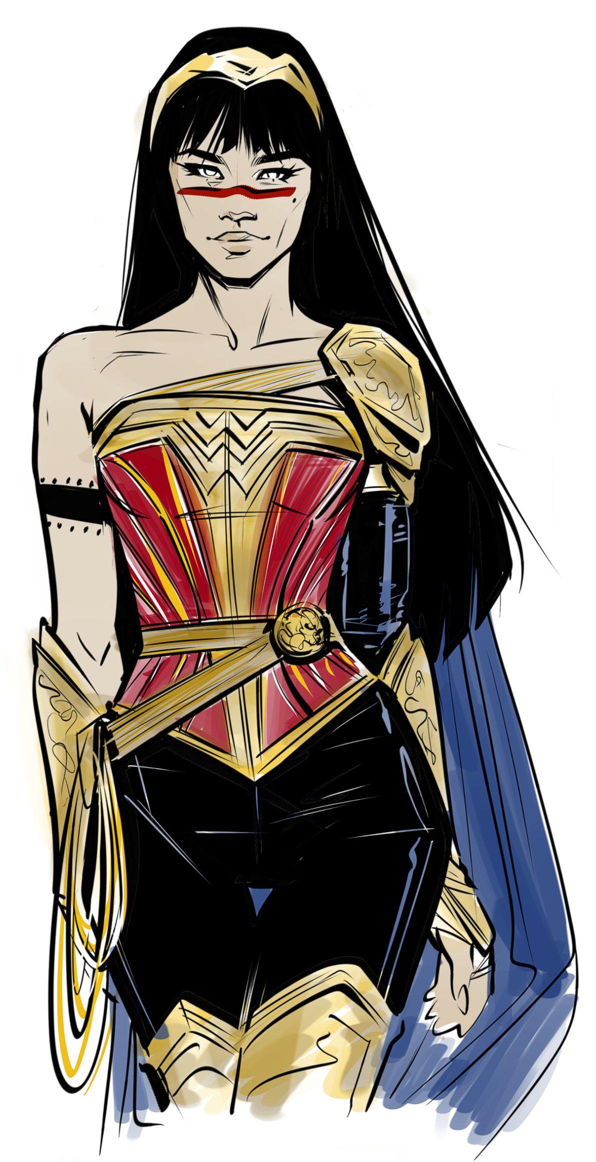 Concept art of an alternate costume for Yara Flor/Wonder Woman.