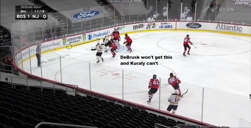 Part 2: The puck will continue around the boards through the left corner.  DeBrusk won't get it and Kuraly can't from here.