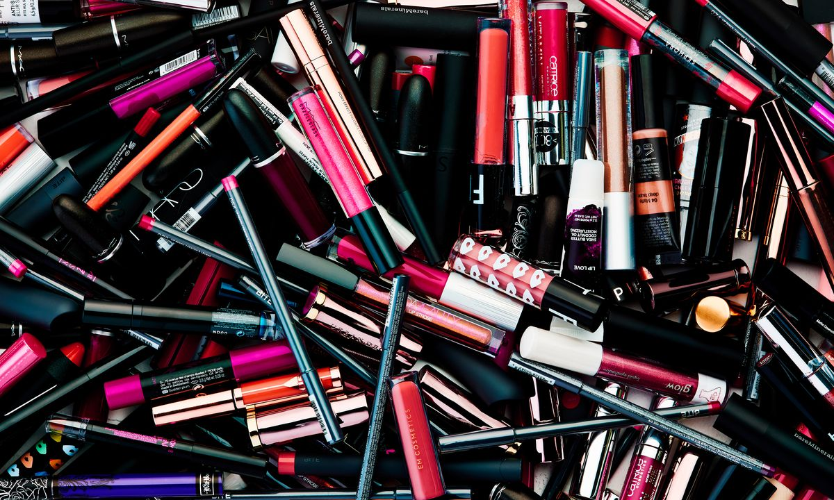 Close-up of lip products