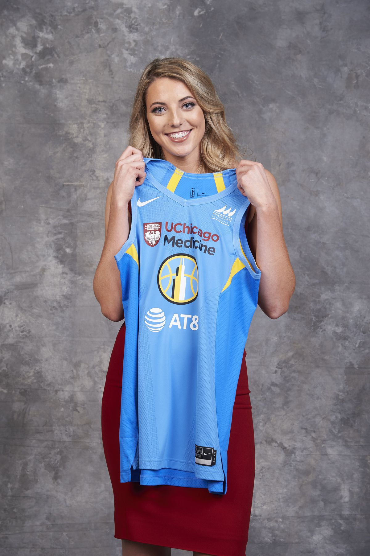 Samuelson poses for a portrait after being selected fourth overall by the Chicago Sky during the WNBA Draft on April 10, 2019 in New York, New York at the Nike New York Headquarters. | Jennifer Pottheiser/NBAE via Getty Images