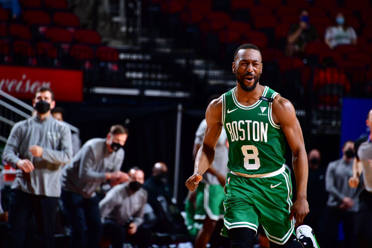Kemba Walker #8 of the Boston Celtics celebrates during the game against the Houston Rockets on March 14, 2021 at the Toyota Center in Houston, Texas.