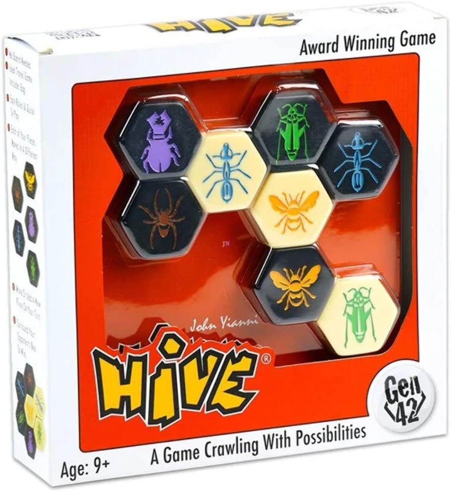 The board game Hive in the box, as found on store shelves. It containts black and beige tiles.