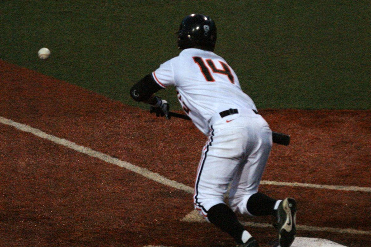 Andy Peterson's RBI bunt single put Oregon St. ahead for good in the Beavers' 7-5 win over the Portland Pilots Tuesday evening.