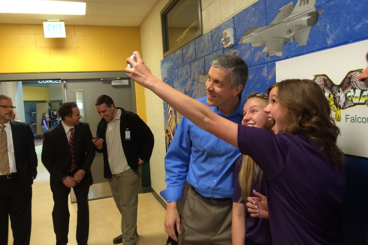 U.S. Secretary of Education Arne Duncan posed for a selfie with students in Colorado Springs last year.