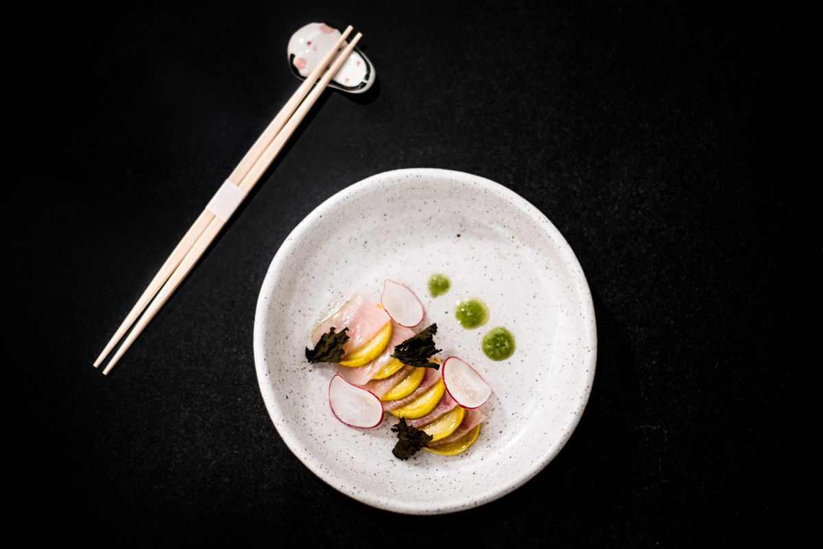 Smoked hamachi with zucchini and spicy shiso oil