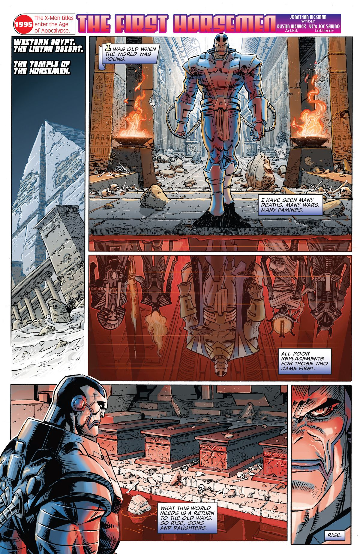 Apocalypse awakens his original four horsemen in a page from Marvel Comics #1000, Marvel Comics (2019).