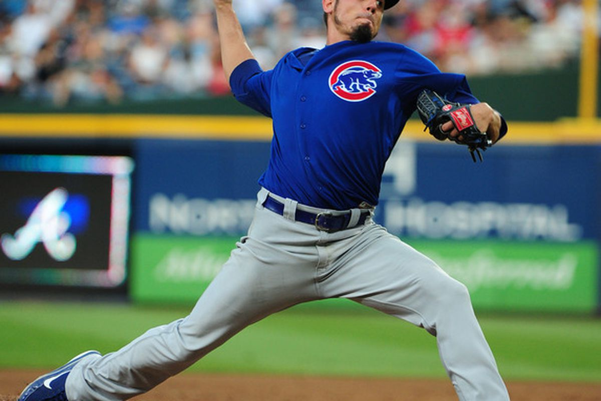 Matt Garza of the Chicago Cubs pitches against the Atlanta Braves at Turner Field in Atlanta, Georgia. (Photo by Scott Cunningham/Getty Images)