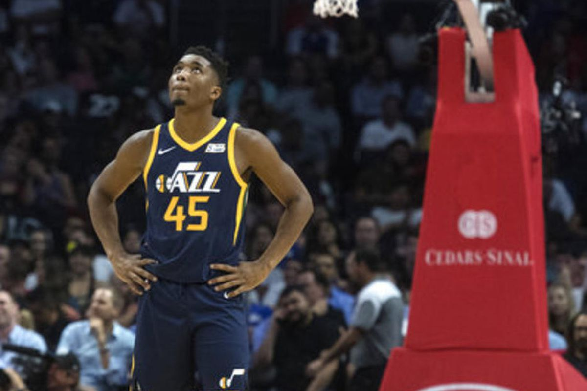 Utah Jazz guard Donovan Mitchell during the first half of an NBA basketball game Tuesday, Oct. 24, 2017, in Los Angeles.