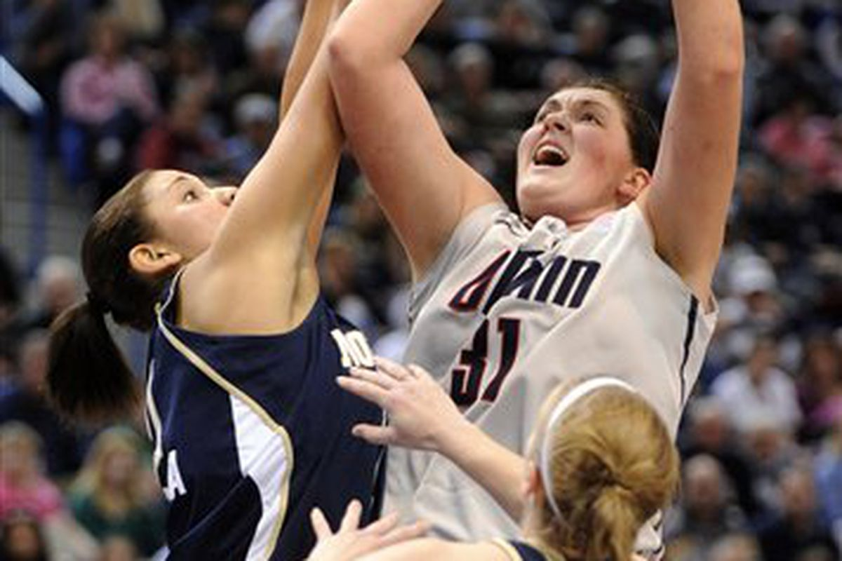 Will Stefanie Dolson have what it takes in the lane against Notre Dame's post? <em>(AP Photo/Fred Beckham)</em>