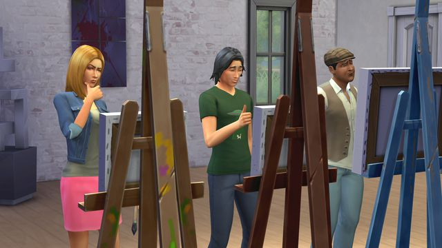 Three sims looking at easels