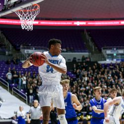 Sky View's forward Sam Phipps (34) catches a rebound during the 4A boys championship basketball game against Dixie at the Dee Events Center in Ogden on Saturday, Feb. 29, 2020.