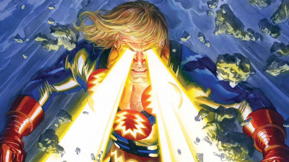 Eternals #1 variant cover with Ikaris shooting laser beams out of his eyes