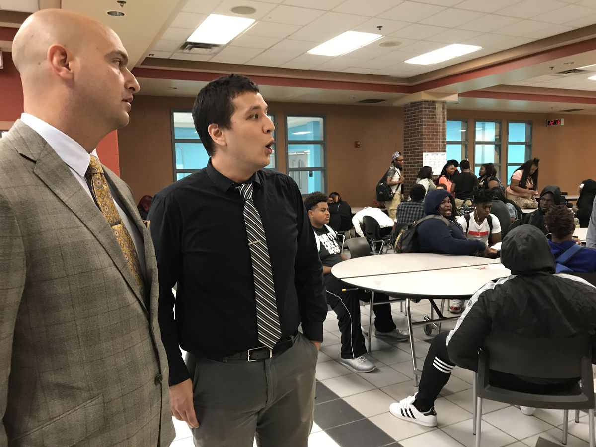 """Central High School principal Abraham Sohn tells Detroit Superintendent Nikolai Vitti that the high noise level in the school cafeteria on the first day of school is because """"we don't have the staff right now."""""""