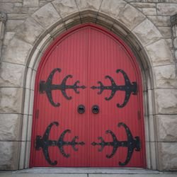 A door at St. Peter's Church on Belmont Avenue in Boystown.   Colin Boyle/Sun-Times