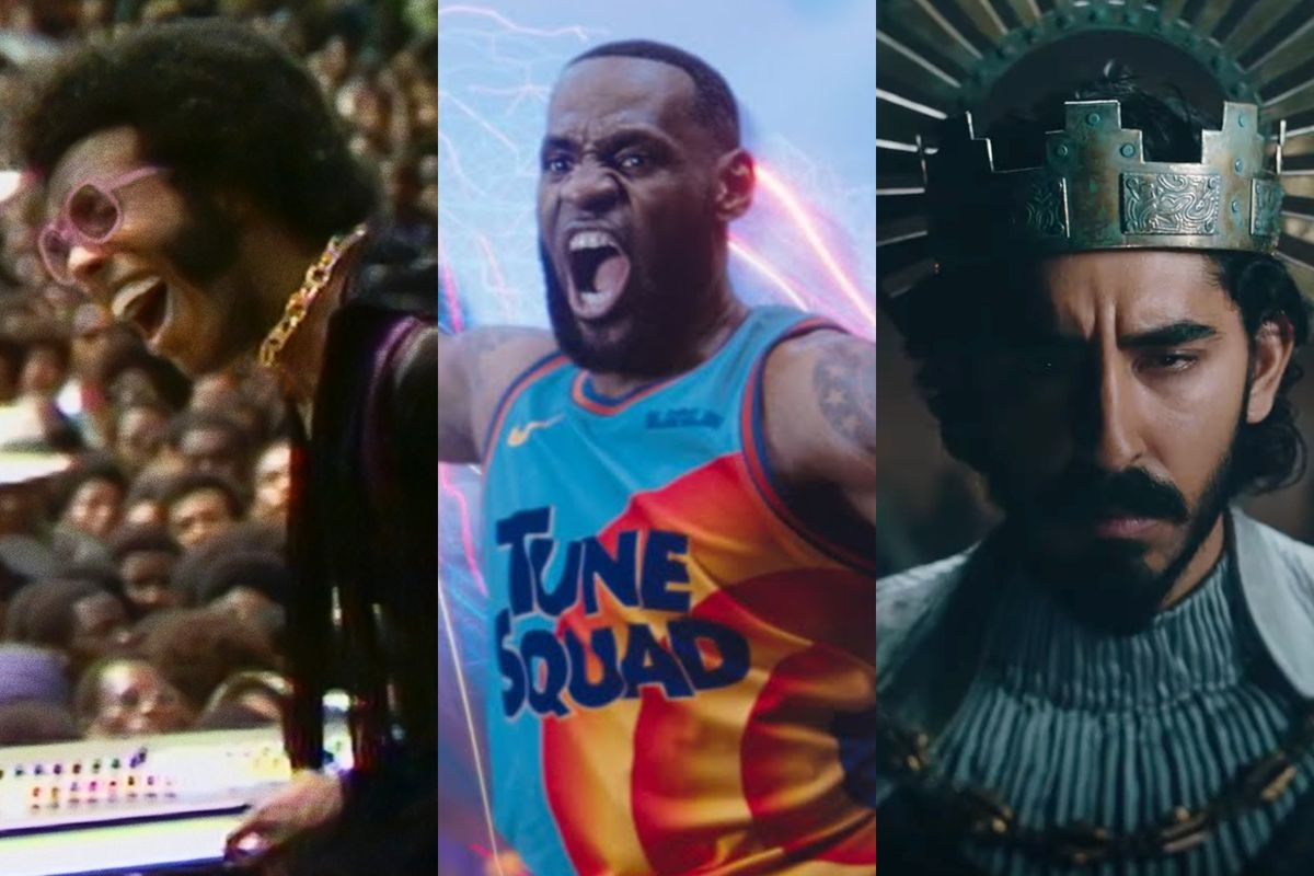 """A triptych featuring stills from three films: Sly Stone playing the piano, LeBron James dunking a basketball in a """"Tune Squad"""" jersey, and Dev Patel in medieval garb."""