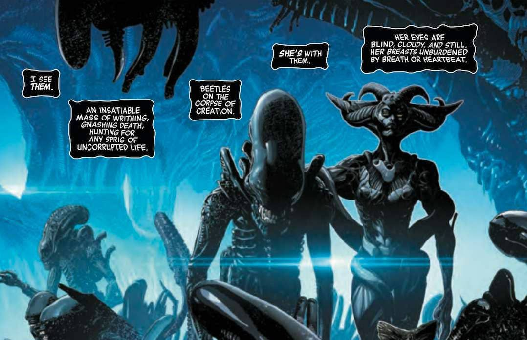 """Narration describes the xenomorph horde as """"an insatiable mass of writing, gnashing, death, hunting for any sprig of uncorrupted life,"""" and the image of skittering creatures in a dripping biocave, overseen by an alien female form is just as horrible, in Alien #1, Marvel Comics (2021)."""