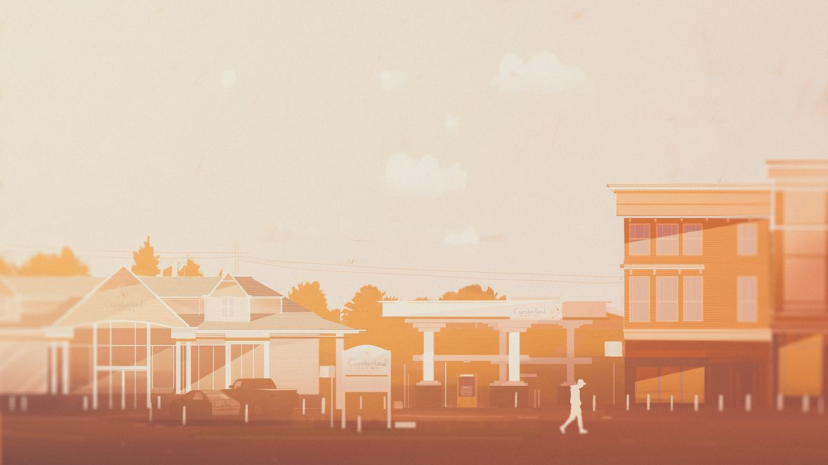 Illustration of a gas station next to old buildings, in the daytime.