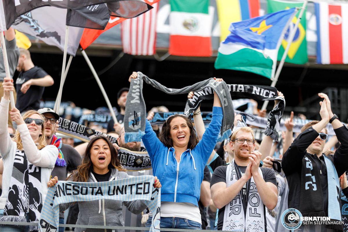 May 12, 2018 - Minneapolis, Minnesota, United States - The Wonderwall celebrate a goal scored by Minnesota United forward Christian Ramirez during the match against San Jose Earthquakes at TCF Bank Stadium.