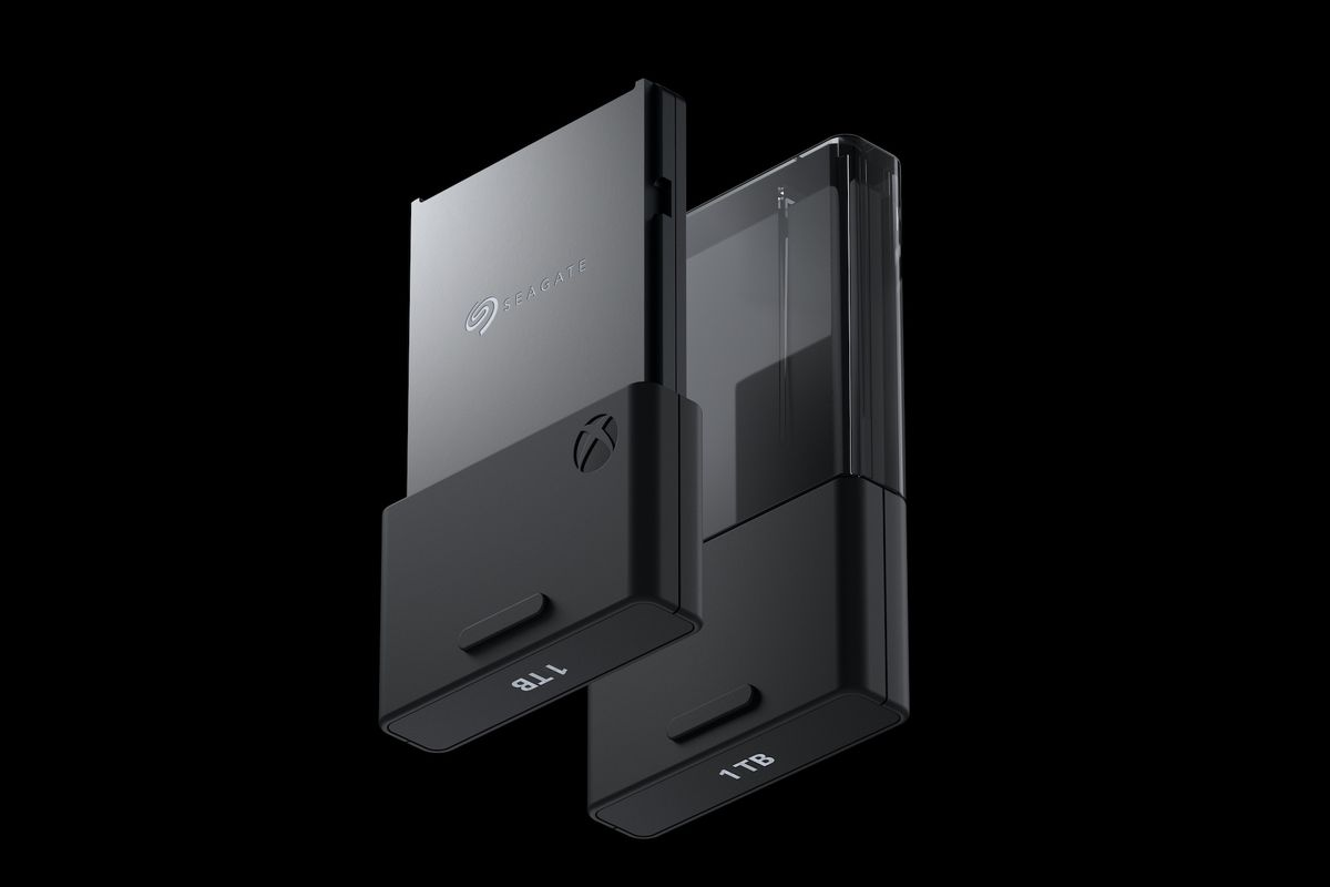 a product shot of the Xbox Series X Storage Expansion Card on a black background