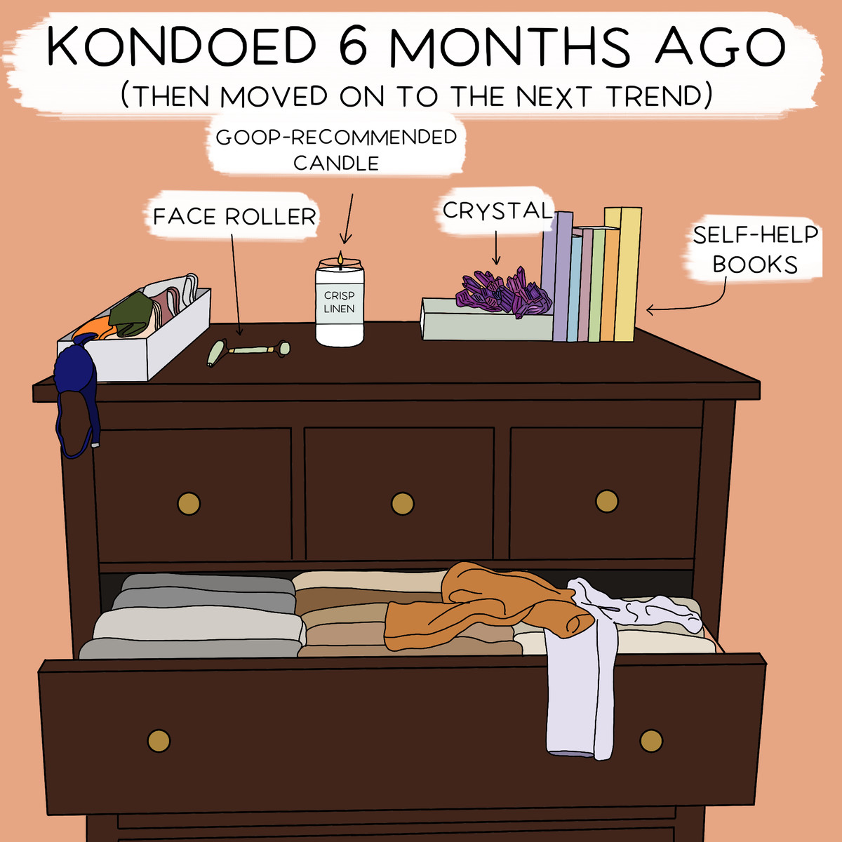 """""""Kondoed 6 Months Ago (Then Moved On to the Next Trend"""" has a dresser where most of the clothes are folded Marie Kondo style, though a few are not, and on top, there's a face roller, crystal, and some self-help books."""