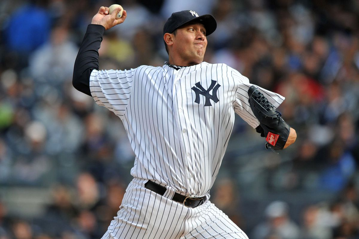 Freddy Garcia and his 12.51 ERA have been banished to the bullped by the New York Yankees. (Photo by Christopher Pasatieri/Getty Images)