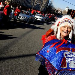 Nancy Whittingham takes part in the parade honoring the Utes on Jan. 16, 2009.