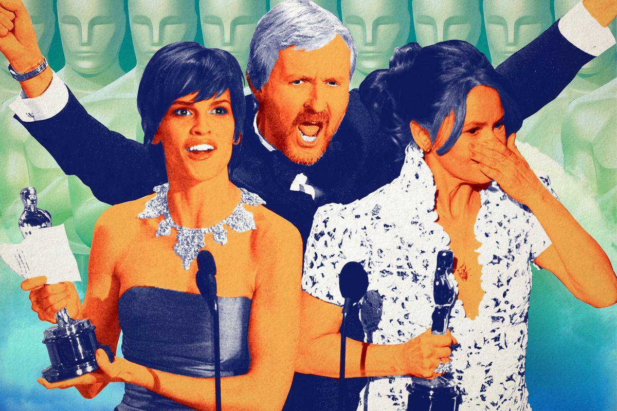 A photo illustration of Hilary Swank, James Cameron, and Melissa Leo at the Oscars