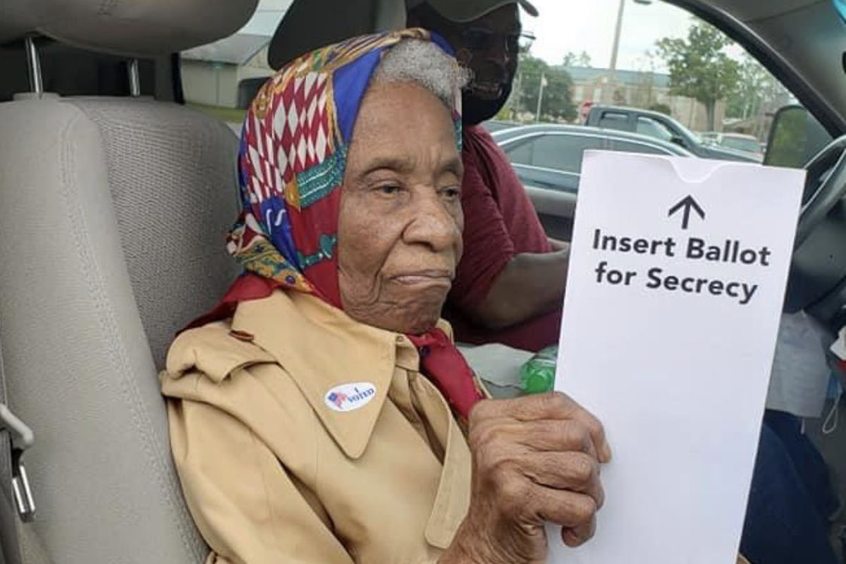 Ora Smith, 102 years old, casts her vote in Hampton, South Carolina on Tuesday, Oct. 21, 2020.