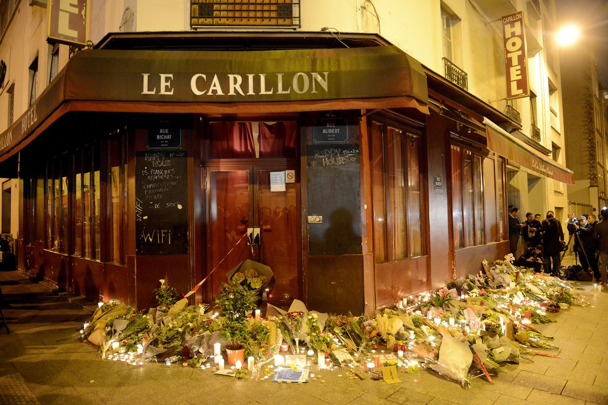 Outside Le Carillon, a restaurant in Paris's 10th arrondissement, after last Friday's attacks