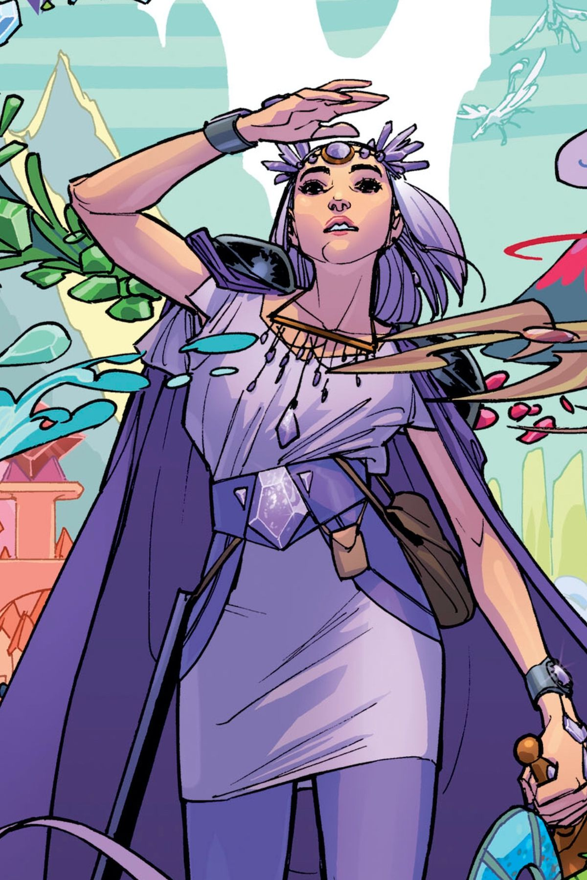 Princess Amethyst/Amy stands on a background of swirling visions, clad all in purple, gripping an amethyst sword, on the cover of Amethyst #1, DC Comics (2020).