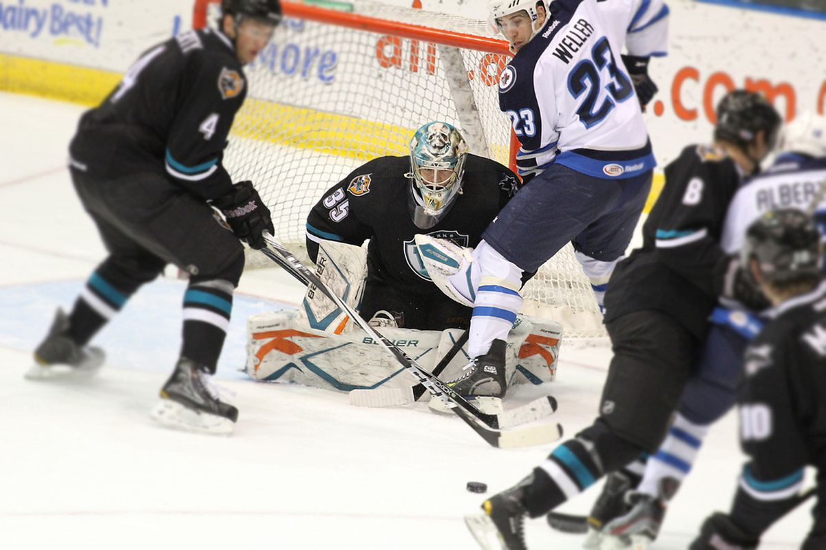 Worcester Sharks goalie Harri Sateri, seen here tracking the puck, stopped 55-of-60 shots in the two games in St. John's last week.  <strong>Photo courtesy of Jeff Parsons of www.stjohnsicecaps.com</strong>