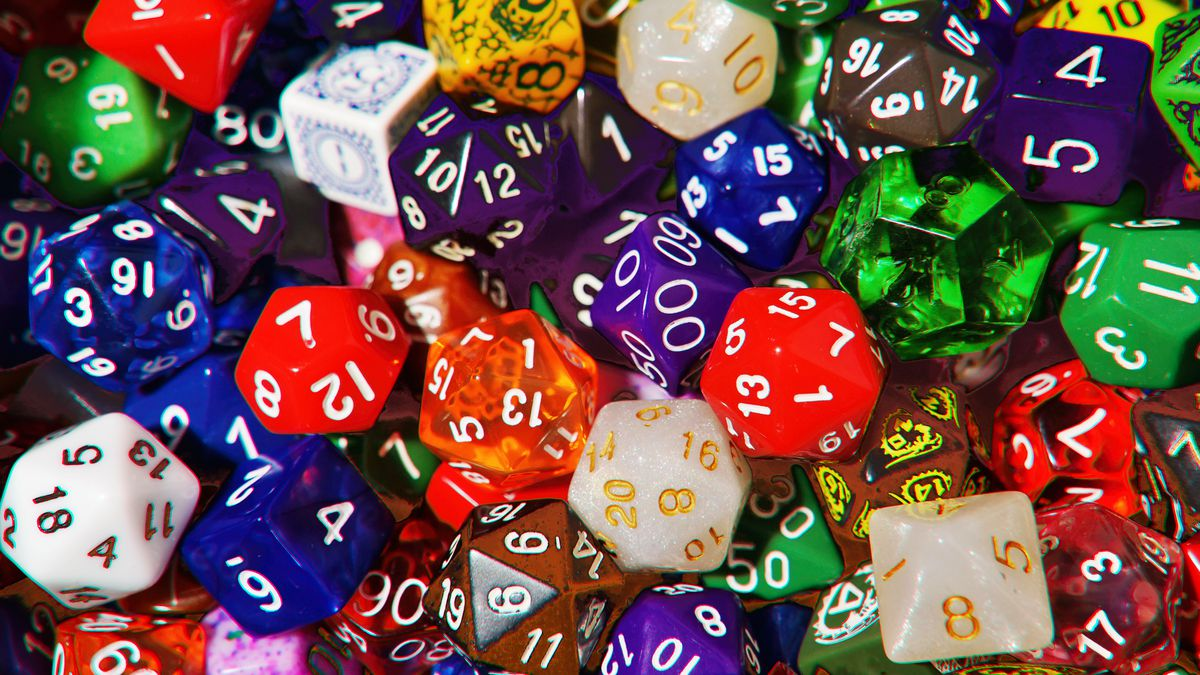 Piles of gaming dice in different colors