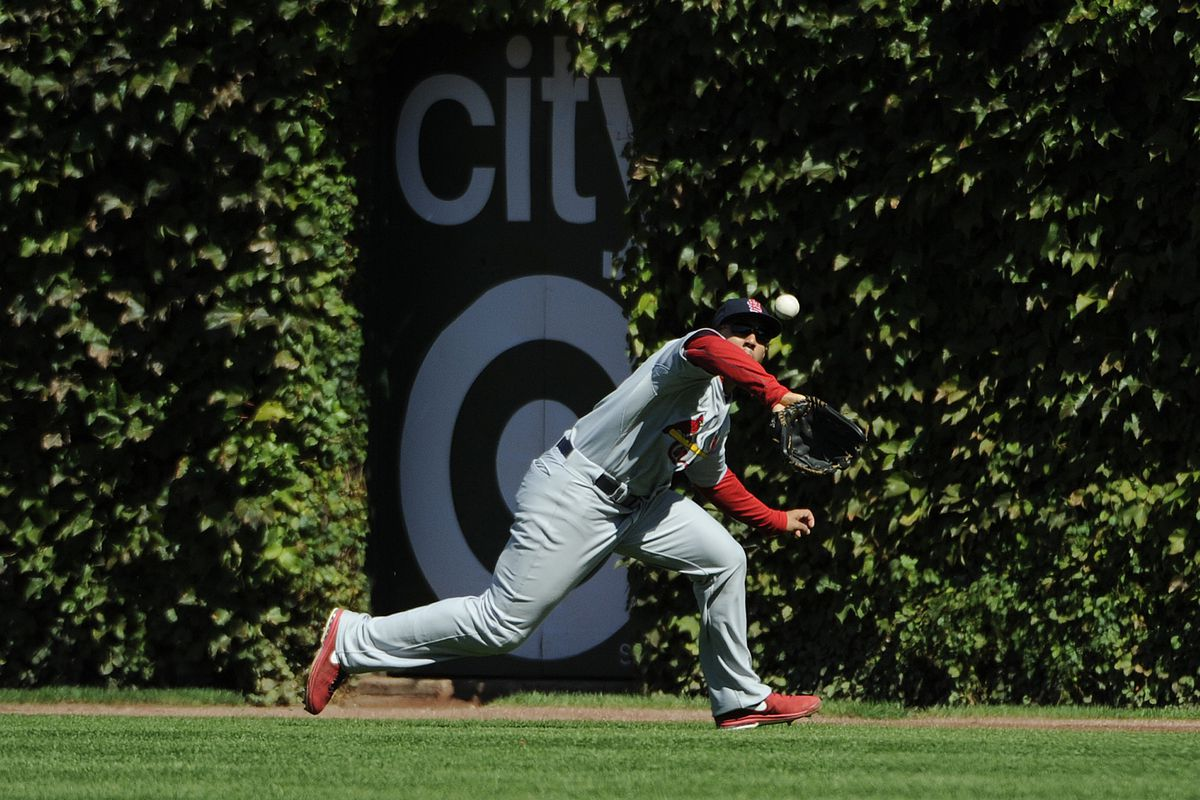 CHICAGO, IL - SEPTEMBER 22: Jon Jay #19 of the St. Louis Cardinals makes a catch against the Chicago Cubs in the third inning on September 22, 2012 at Wrigley Field in Chicago, Illinois.  (Photo by David Banks/Getty Images)