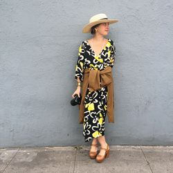 Photographer/artist Lani Trock gave us ladylike-cool with a vintage dress and sun hat.