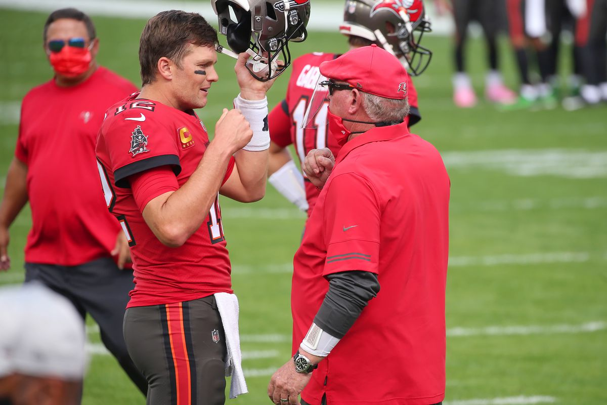 Tom Brady (12) of the Bucs had a word with Bucs Head Coach Bruce Arians before the regular season game between the Minnesota Vikings and the Tampa Bay Buccaneers on December 13, 2020 at Raymond James Stadium in Tampa, Florida.