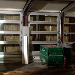 The garage doors will open to let in fresh air during warmer months