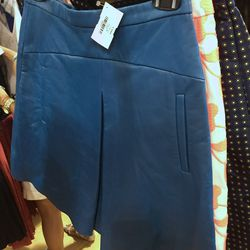 J. Crew Collection blue leather skirt, $250