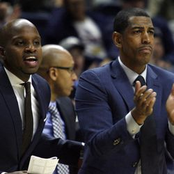 UConn assistant coach Dwayne Killings & head coach Kevin Ollie during the Columbia Lions vs UConn Huskies men's college basketball game at Gampel Pavilion in Storrs, CT on November 29, 2017.