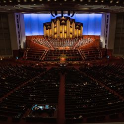 People attend the Saturday night session of the 191st Semiannual General Conference of The Church of Jesus Christ of Latter-day Saints at the Conference Center in Salt Lake City on Saturday, Oct. 2, 2021.