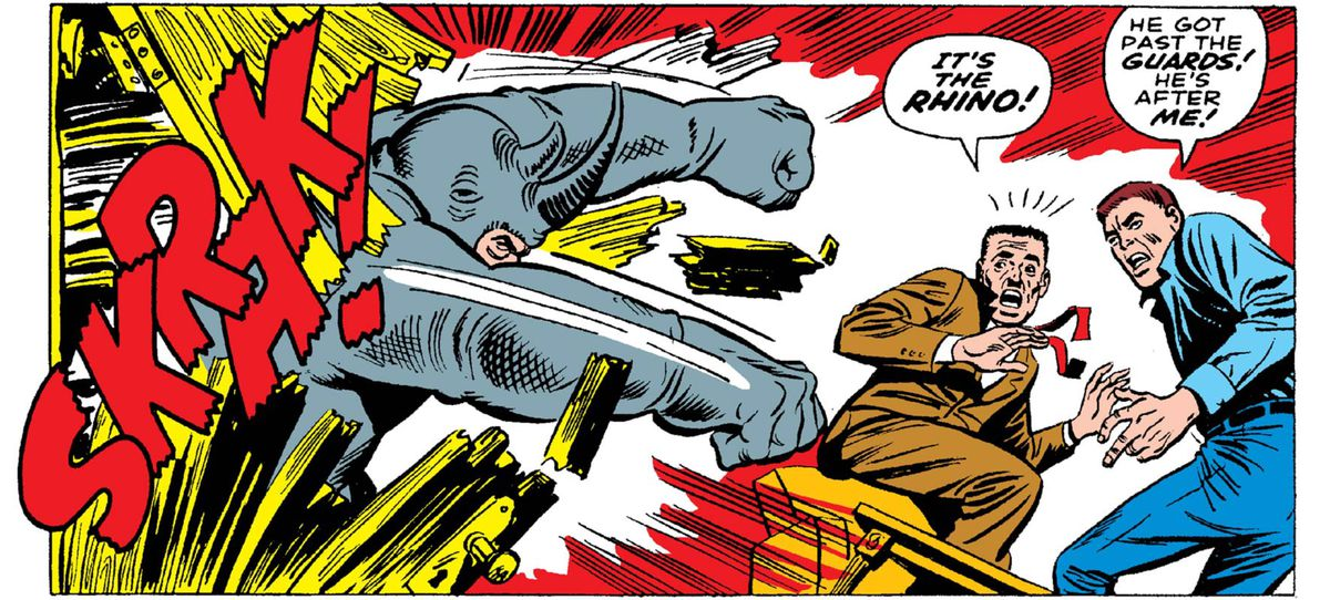 "The Rhino punches through a wall with a SKRAK!. ""It's the Rhino!"" exclaims J. Jonah Jameson, in Amazing Spider-Man #41, Marvel Comics (1966)."