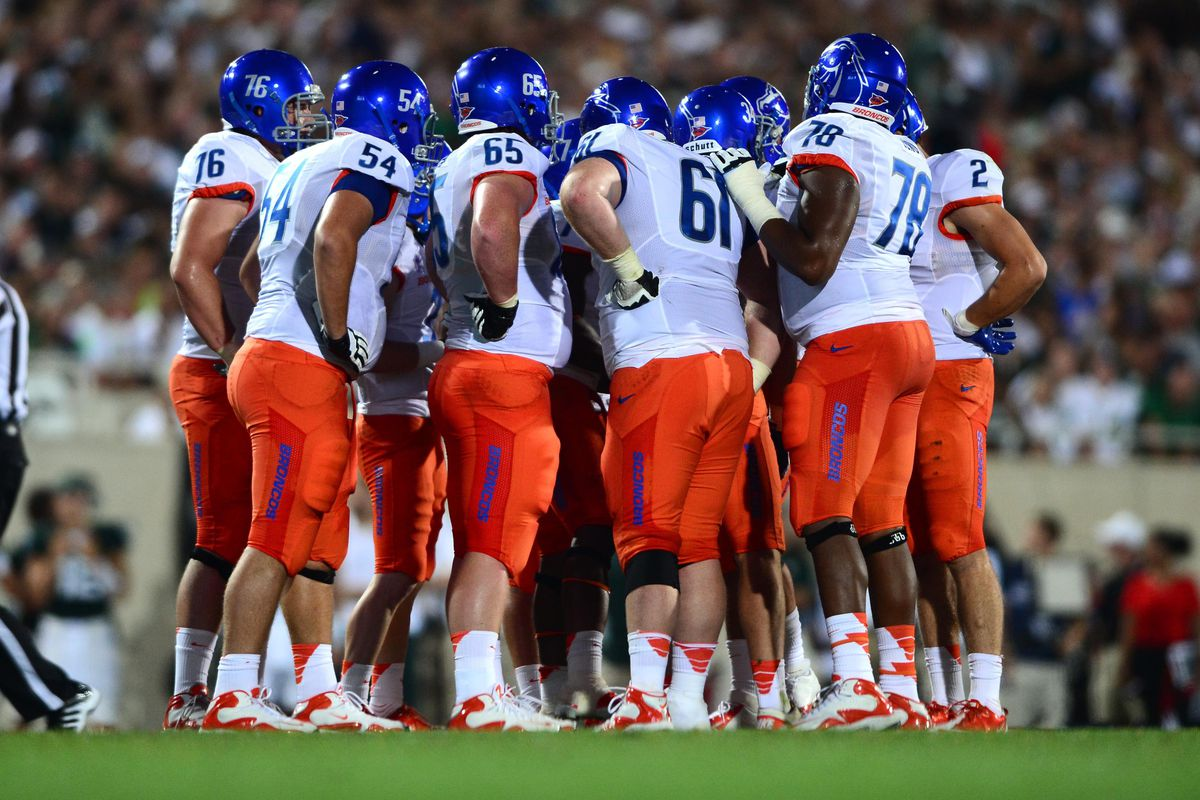 Aug 31, 2012; East Lansing, MI, USA; Boise State Broncos huddle prior to a play in the fourth quarter against the Michigan State Spartans at Spartan Stadium. Mandatory Credit: Andrew Weber-US Presswire