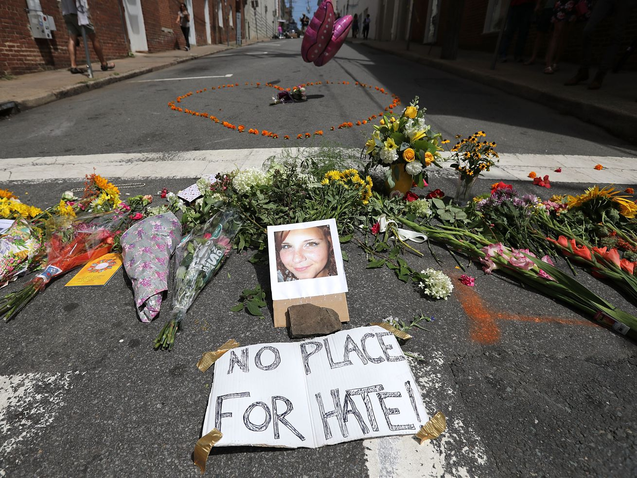A small memorial to Heather Heyer, an anti-racist protester killed when James A. Fields drove into a crowd on August 13, 2017. On Friday, Fields was sentenced to life in prison by a federal court.