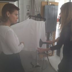 Color director Nelida d'Alessandro helped select the celestial, all-white wardrobes for the models.