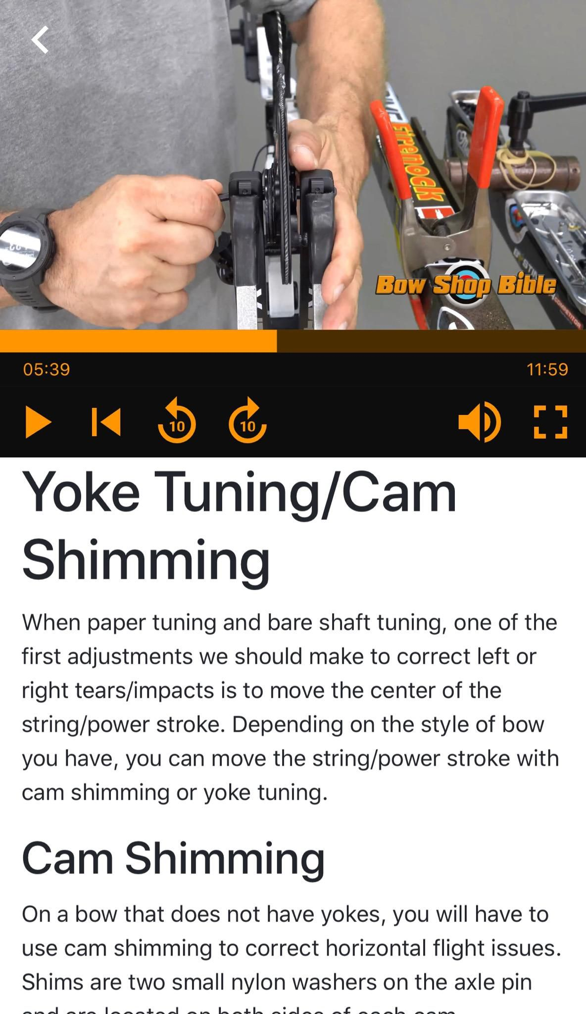 The part of the Bow Shop Bible app on yoke tuning and cam shimming. Provided